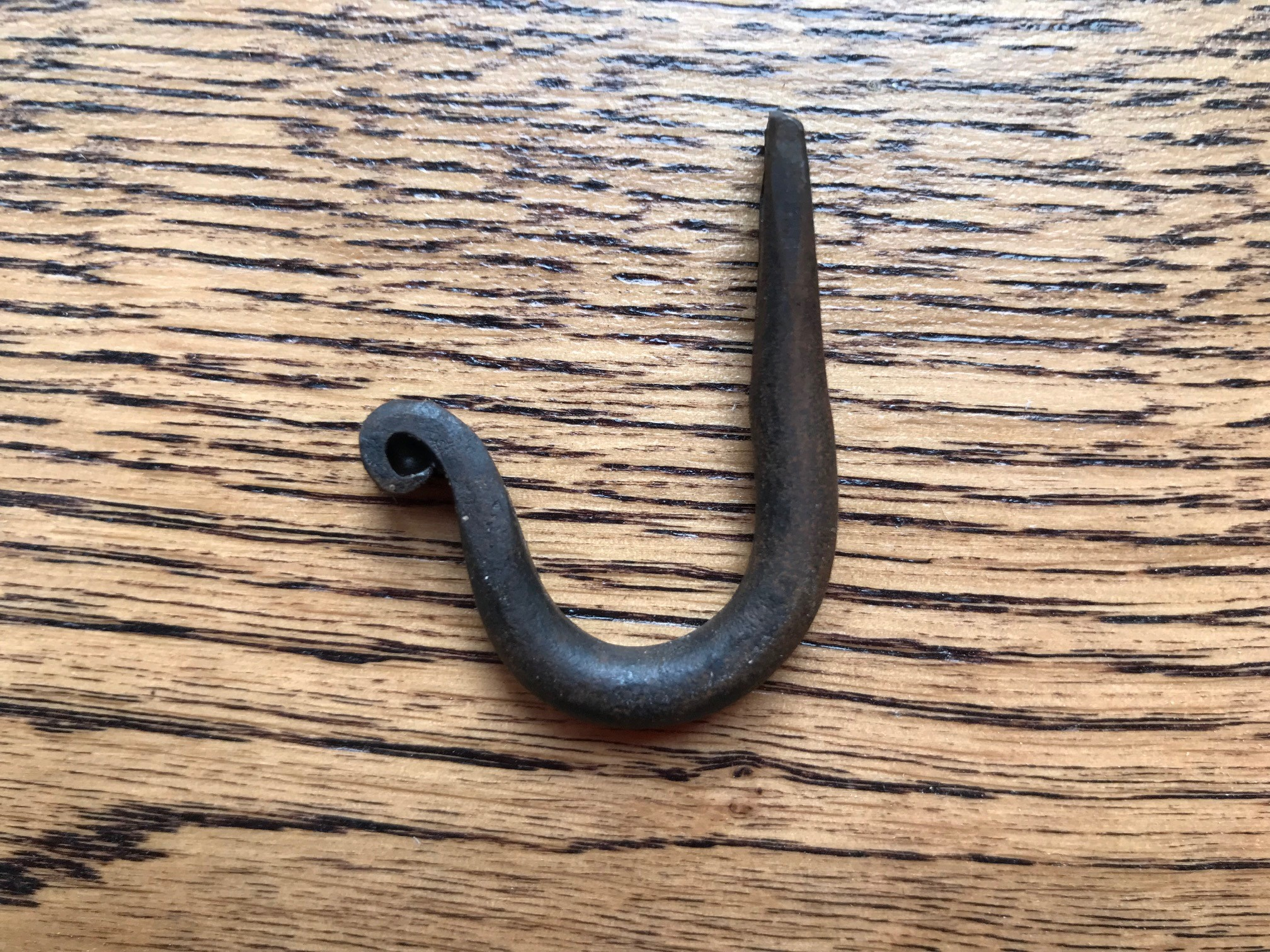 Small Black Wrought Iron Hook with Bean End 1""