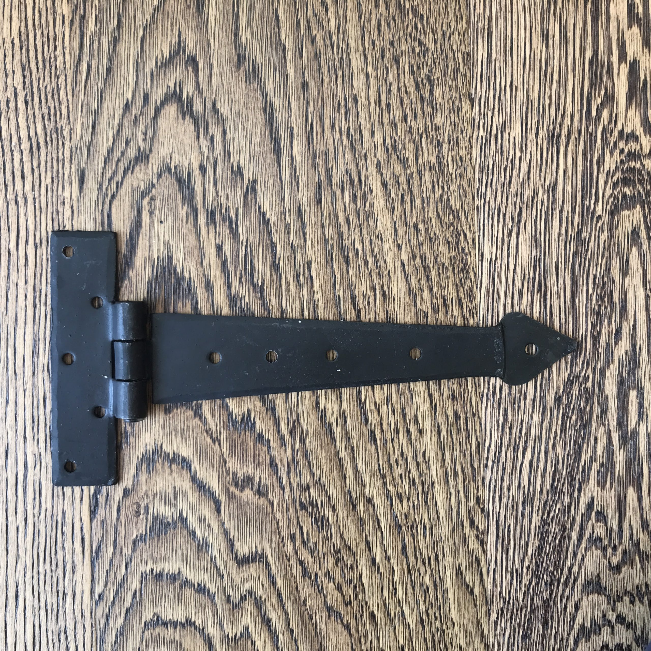 "Wrought Iron T Door Hinge Arrowhead 9"" (pair)"