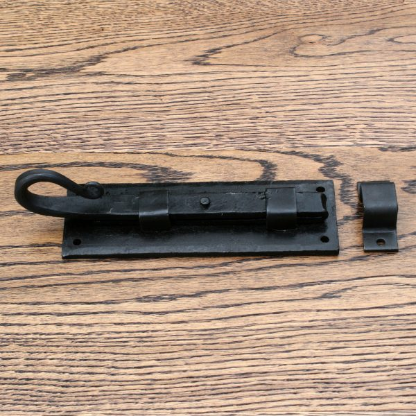 """Vintage Wrought Iron Straight Slide Bolt with Rat Tail End 6"""""""