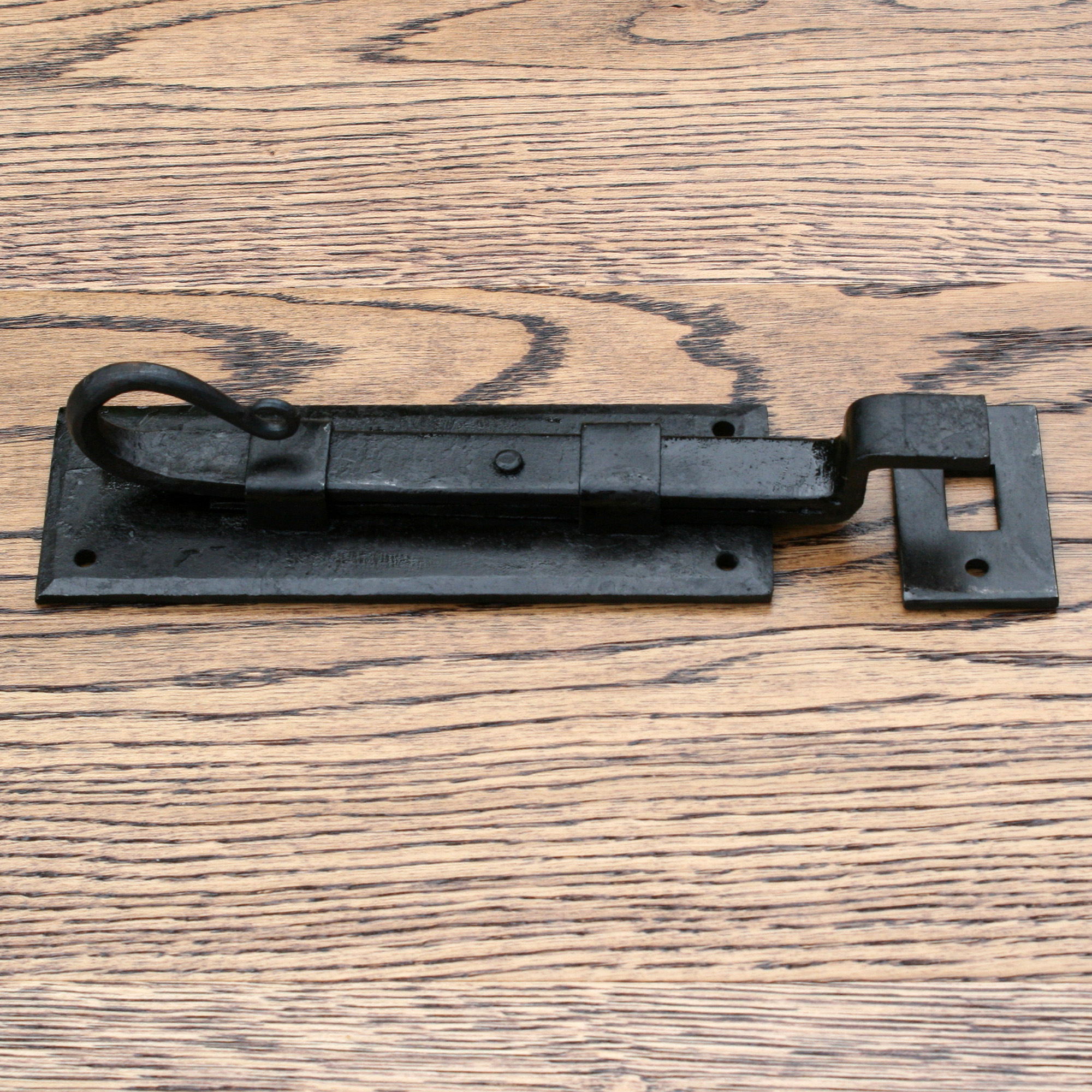 """Traditional Wrought Iron Slide Bolt Cranked with Rat Tail End 6"""""""