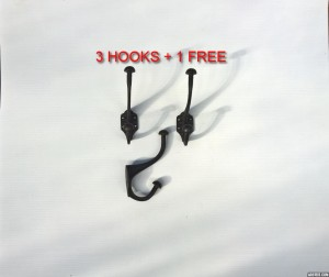 3x Lined Coat Hook +1 Free