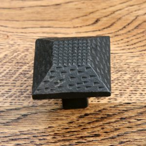 Textured Square Inca Pyramid Cast Iron Cabinet Knob 38mm