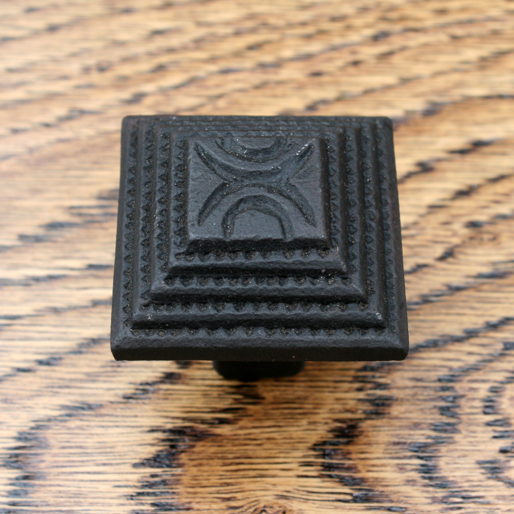Cast Iron Cabinet Knob Stepped Inca Pyramid 38mm