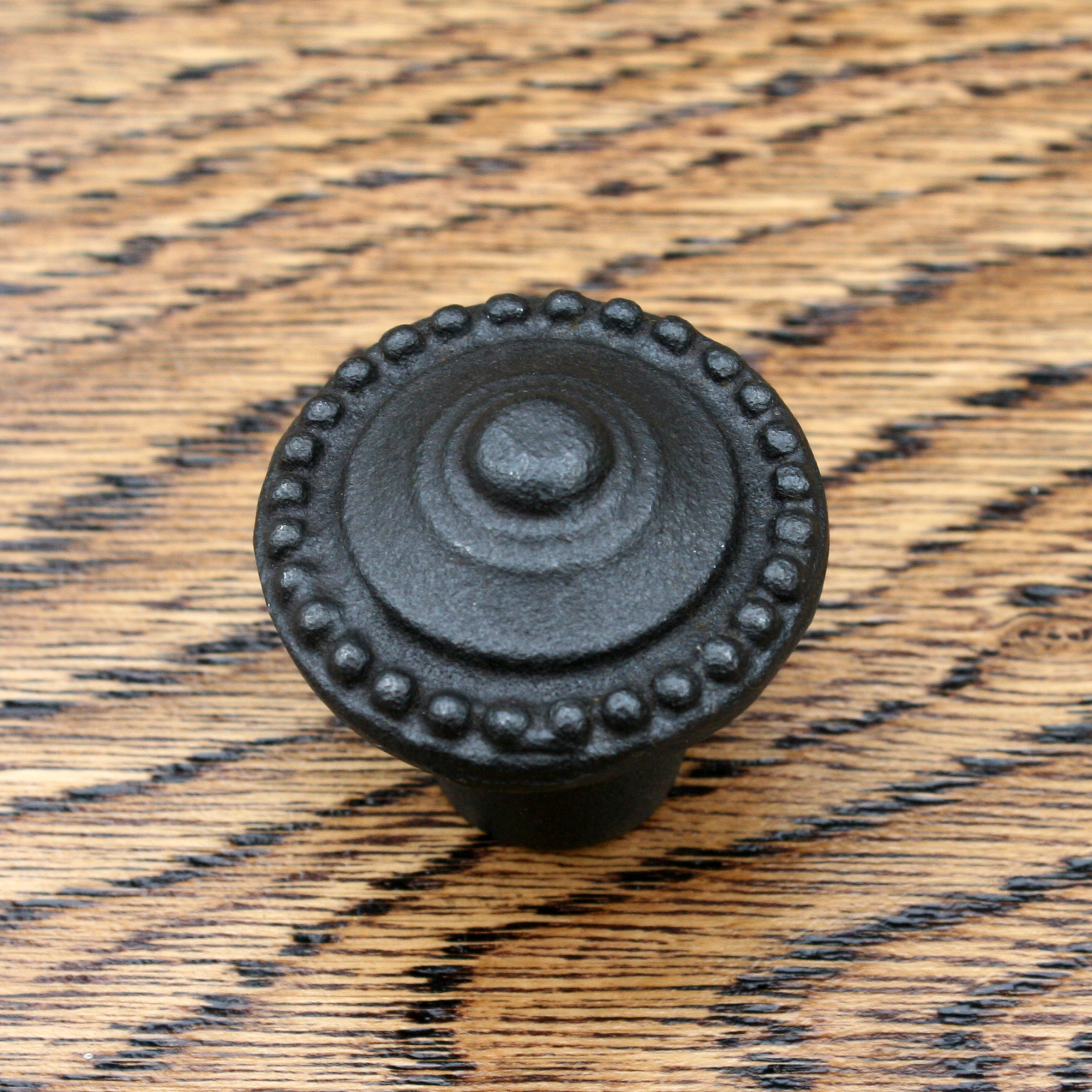 Cast Iron Beaded Black Cabinet Knob 30mm