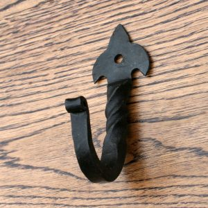 Small Hand Forged Hook With Fleu De Lys Head 3 1/2 ""