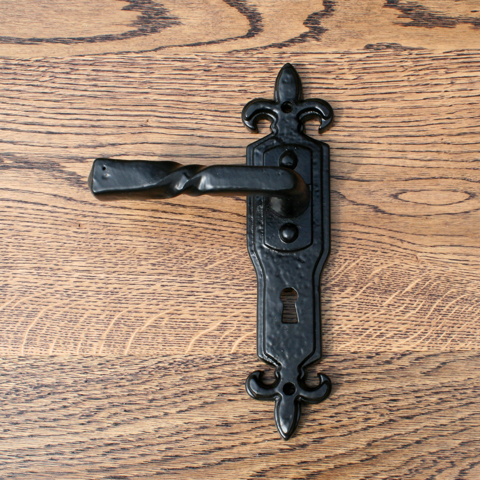 black fleur de lys door handle